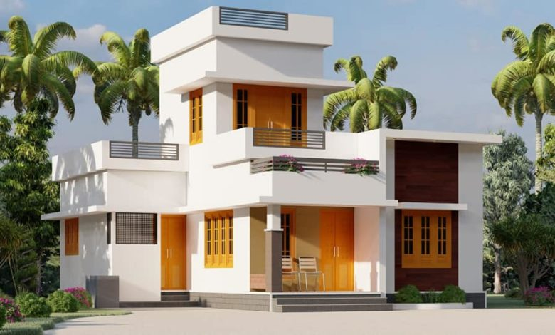 800 Sq Ft 2BHK Modern Flat Roof Single-Storey House and Free Plan