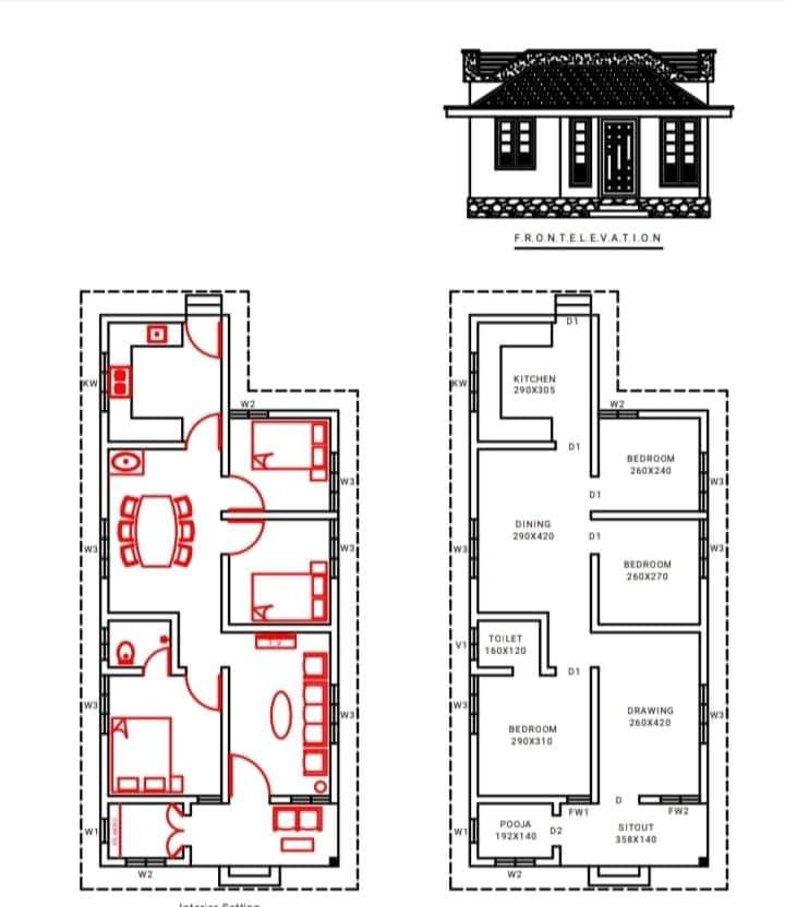 1050 Sq Ft 3BHK Traditional Style Single Floor House and Free Plan