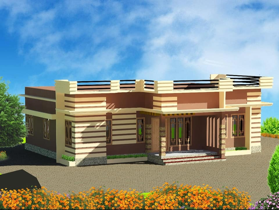 1200 Sq Ft 3BHK Modern Single Floor House and Free Plan