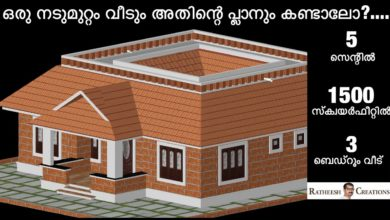 Photo of 1500 Sq Ft 3BHK Kerala Nalukettu Style Single Floor House and Free Plan