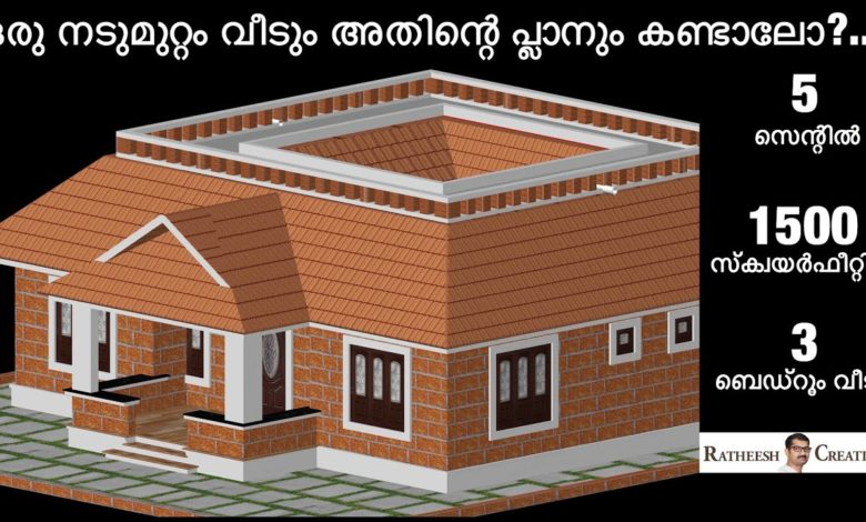 1500 Sq Ft 3BHK Kerala Nalukettu Style Single Floor House and Free Plan