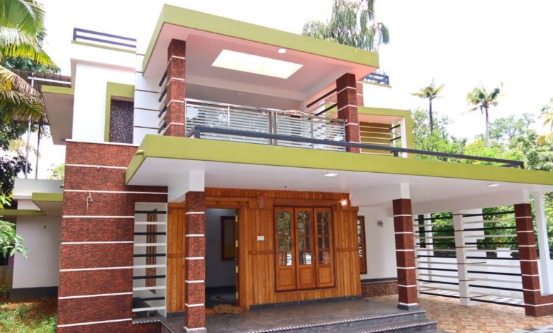 2500 Sq Ft 4BHK Contemporary Flat Roof Modern Two-Storey House at 8.5 Cent Plot