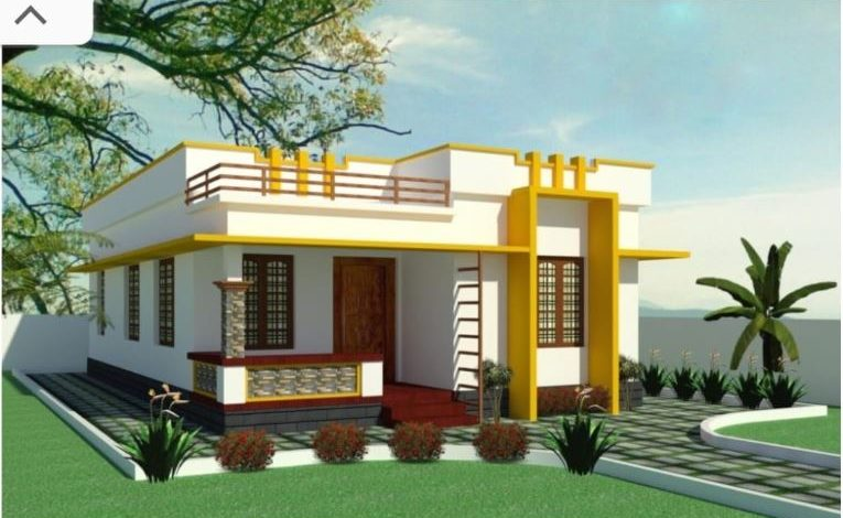 620 Sq Ft 2BHK Modern Single-Storey House and Free Plan, 10 Lacks