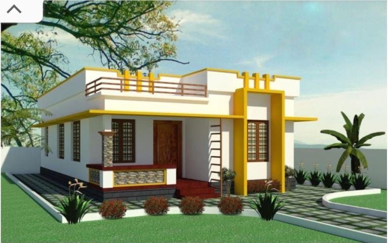 620 Sq Ft 2BHK Modern Single-Storey House and Free Plan, 10 Lacks
