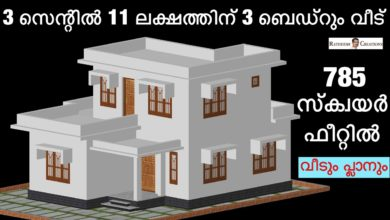 Photo of 785 Sq Ft 3BHK Two-Storey Modern House at 3 Cent Plot, Free Plan, 11 Lacks