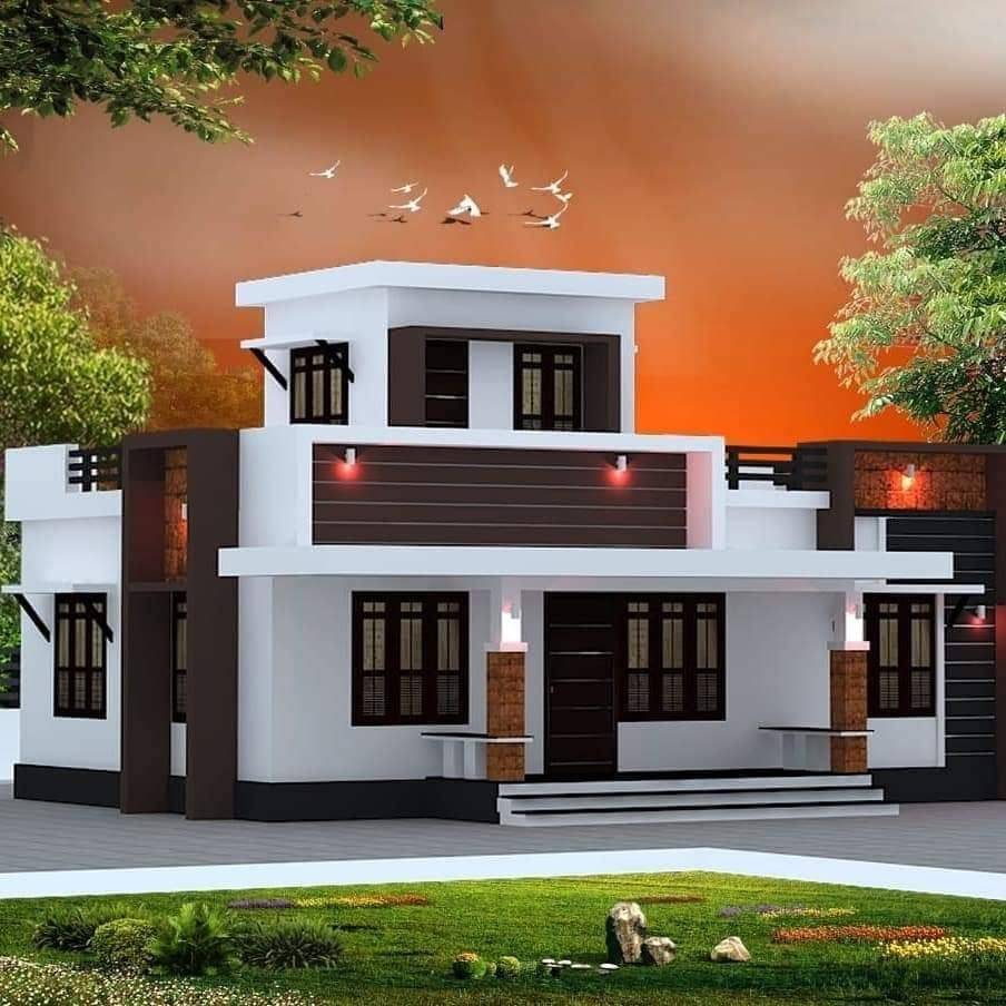 840 Sq Ft 2BHK Modern Single Floor House and Free Plan, 13 Lacks