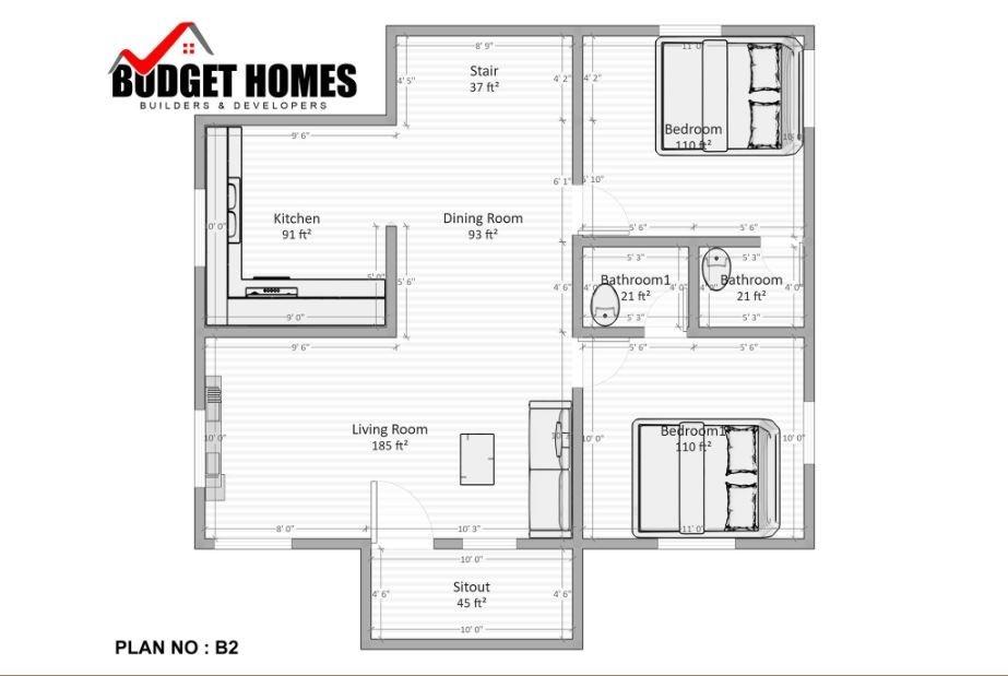 840 Sq Ft 2BHK Modern Single Floor House and Free Plan, 13 Lacks