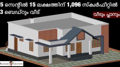 Photo of 1096 Sq Ft 3BHK Modern Single Floor House at 5 Cent Plot, Free Plan, 15 Lacks
