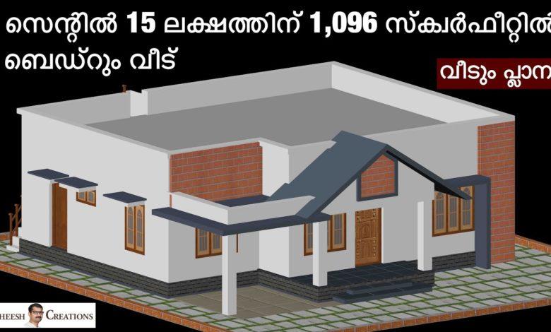 1096 Sq Ft 3BHK Modern Single Floor House at 5 Cent Plot, Free Plan, 15 Lacks