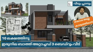 Photo of 1036 Sq Ft 3BHK Contemporary Style Two-Storey House and Free Plan, 10 Lacks