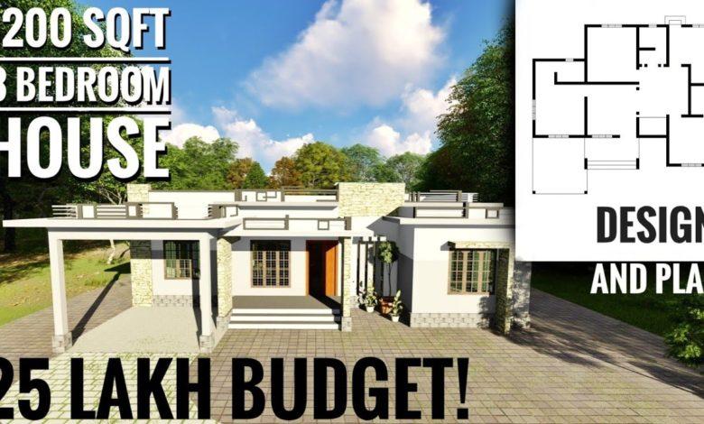 1200 Sq Ft 3BHK Modern Single Floor House and Free Plan, 25 Lacks