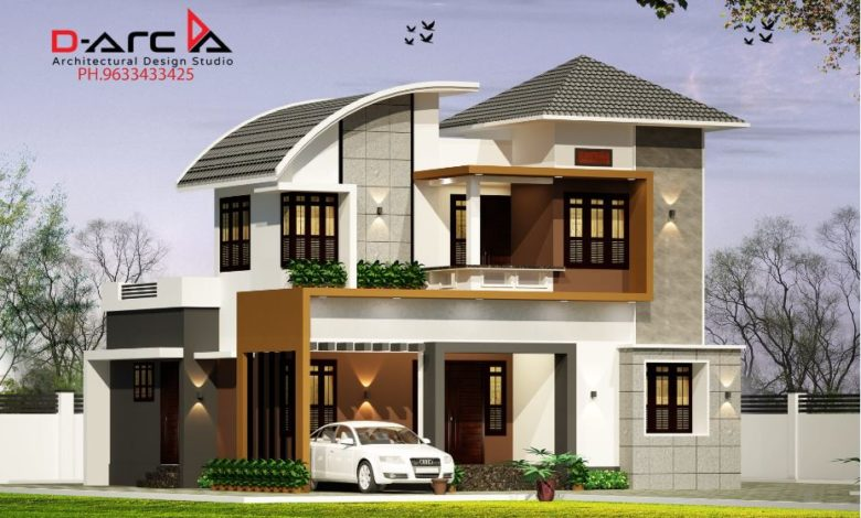 1375 Sq Ft 3BHK Contemporary Style Two-Storey House and Free Plan, 20 Lacks