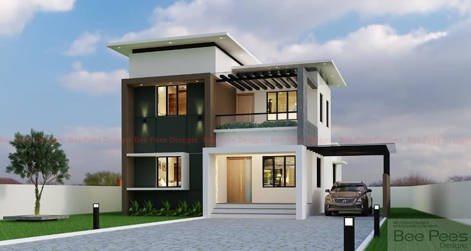 1619 Sq Ft 3BHK Contemporary Style Two-Storey House and Free Plan