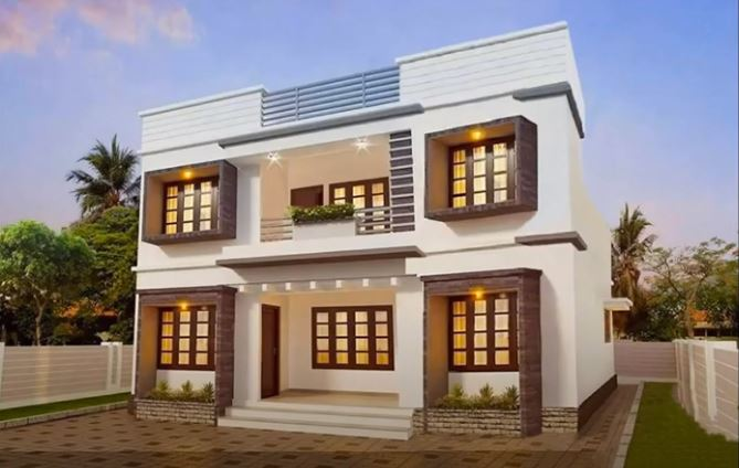 1748 Sq Ft 4BHK Contemporary Style Two-Storey House and Free Plan