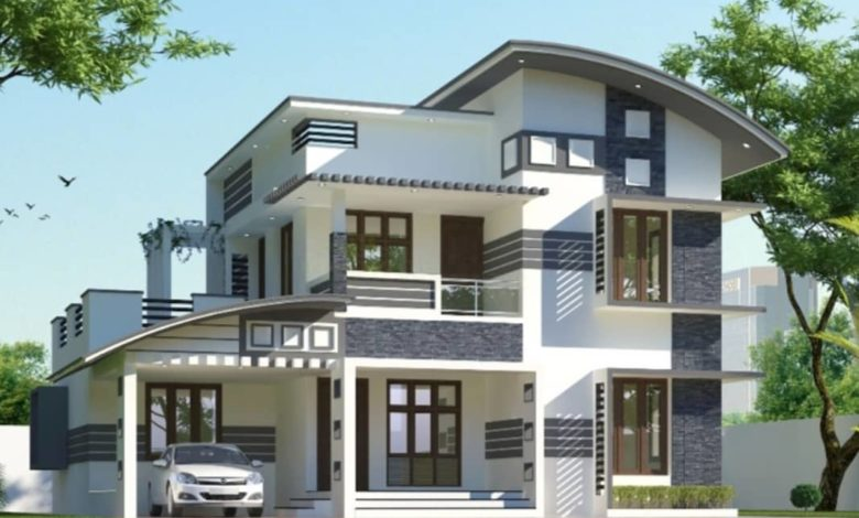 2056 Sq Ft 3BHK Contemporary Style Two-Storey House and Free Plan