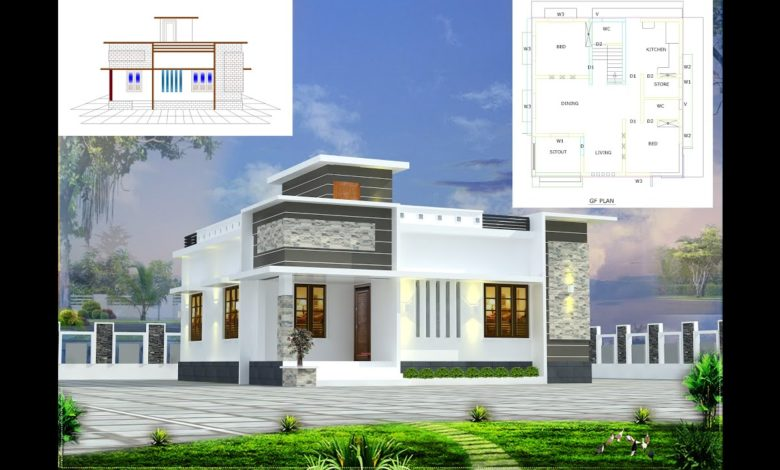 700 Sq Ft 2BHK Contemporary Style Single-Storey House and Free Plan, 9 Lacks