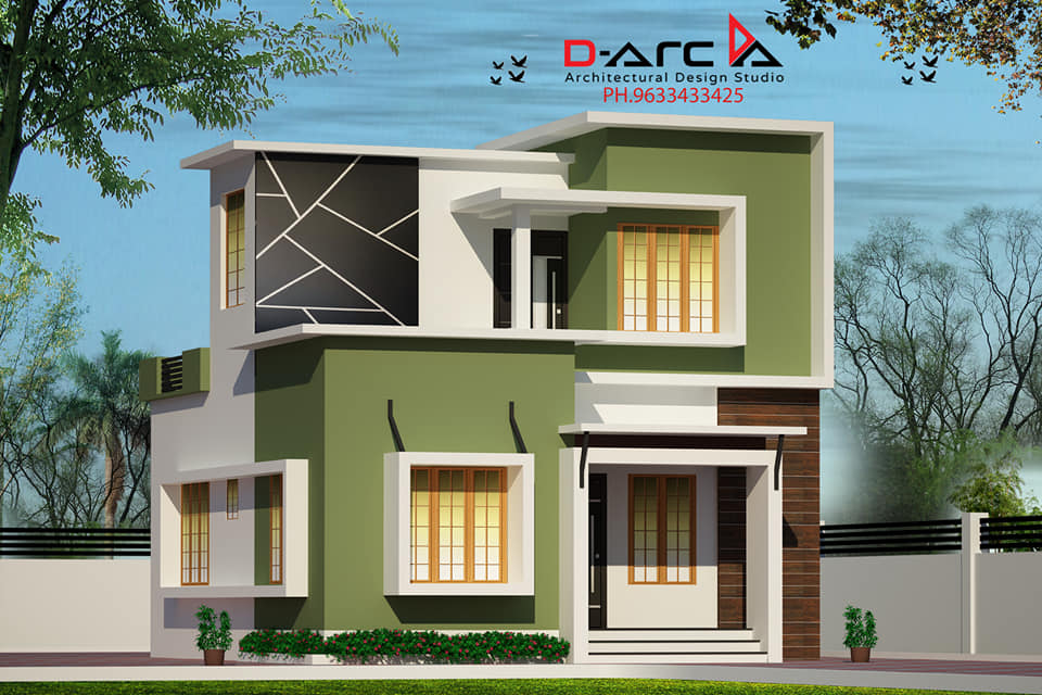 935 Sq Ft 3BHK Contemporary Style Two-Storey House and Free Plan, 13 Lacks