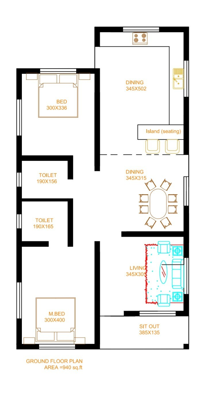 940 Sq Ft 2BHK Modern and Beautiful Single-Storey House and Free Plan
