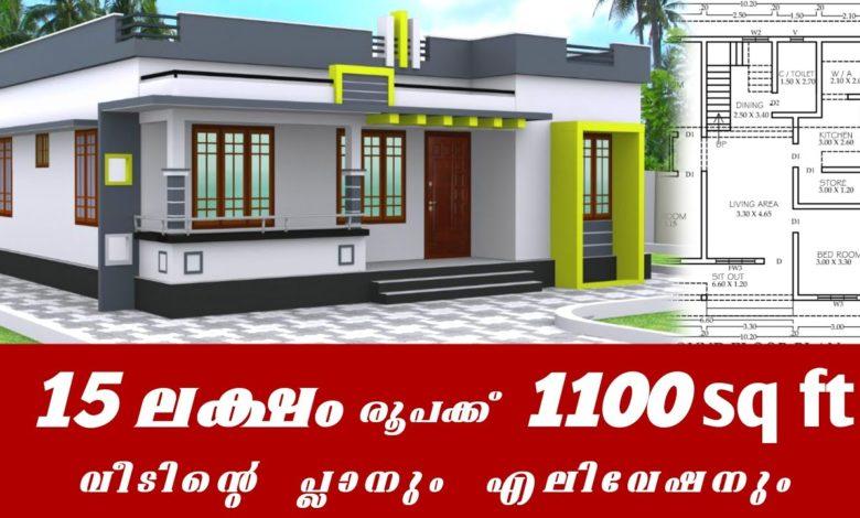 1100 Sq Ft 3BHK Modern Single Floor House and Free Plan, 15 Lacks