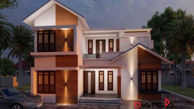 Photo of 1250 Sq Ft 3BHK Contemporary Mix Style Two-Storey House and Free Plan