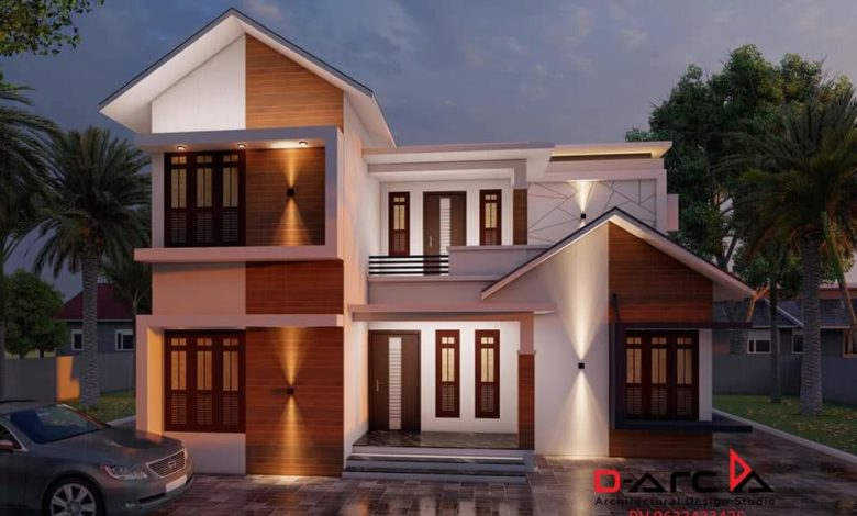 1250 Sq Ft 3BHK Contemporary Mix Style Two-Storey House and Free Plan