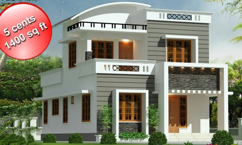 1400 Sq Ft 3BHK Contemporary Style Double Floor House and Free Plan