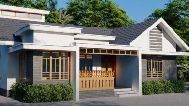 Photo of 1595 Sq Ft 4BHK Colonial Style Single-Storey House and Free Plan