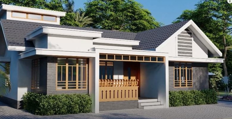 1595 Sq Ft 4BHK Colonial Style Single-Storey House and Free Plan
