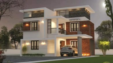 Photo of 1694 Sq Ft 3BHK Contemporary Style Two-Storey House and Free Plan