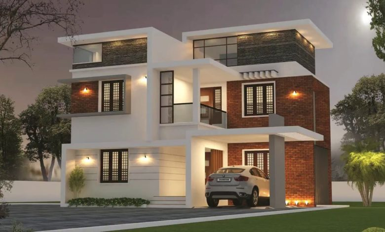 1694 Sq Ft 3BHK Contemporary Style Two-Storey House and Free Plan