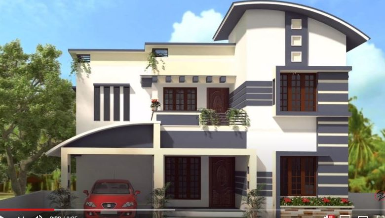 1820 Sq Ft 4BHK Contemporary Style Two-Storey House and Free Plan