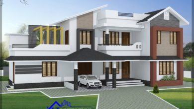 Photo of 2400 Sq Ft 5BHK Contemporary Style Two-Storey House and Free Plan