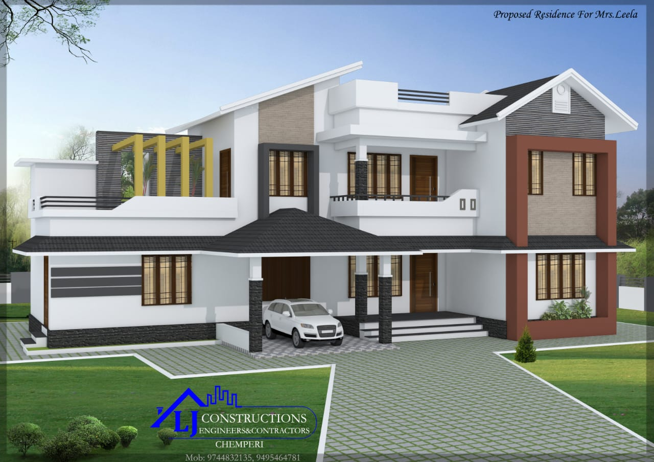 2400 Sq Ft 5BHK Contemporary Style Two-Storey House and Free Plan