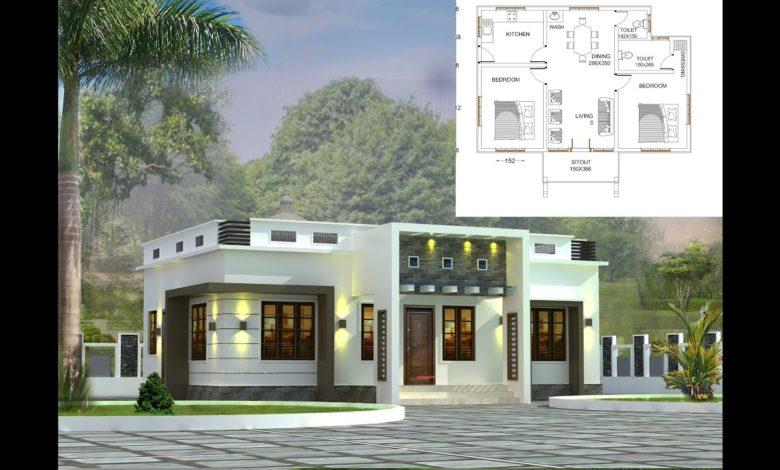800 Sq Ft 2BHK Modern Single-Storey House and Free Plan