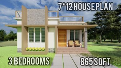 Photo of 865 Sq Ft 3BHK Modern Single-Storey House and Free Plan