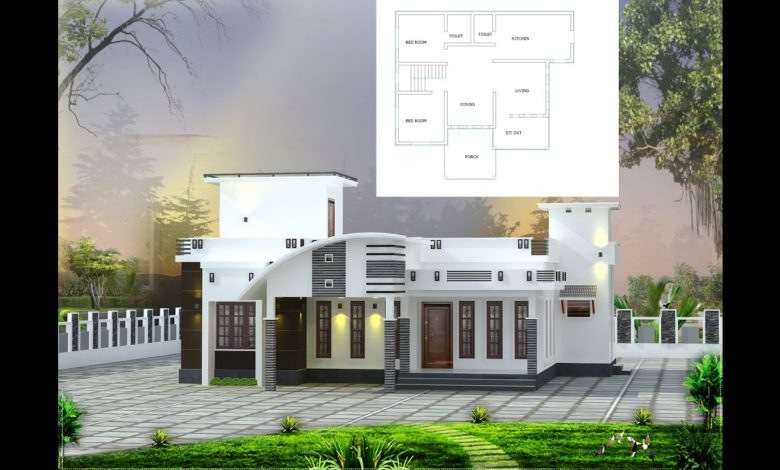 900 Sq Ft 2BHK Contemporary Style Single Floor House and Free Plan, 12 Lacks