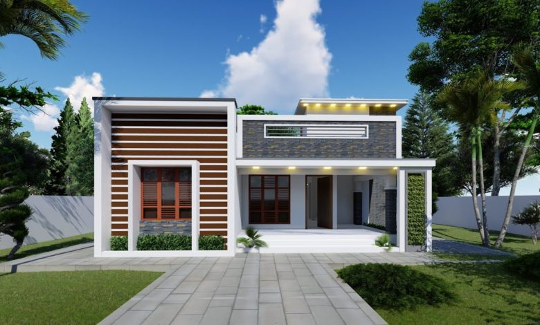 900 Sq Ft 2BHK Contemporary Style Single-Storey House and Interior