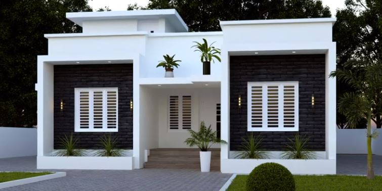 995 Sq Ft 3BHK Contemporary Style Single Floor House and Free Plan