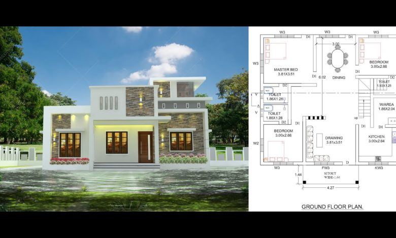 1000 Sq Ft 3BHK Contemporary Style Single-Storey House and Free Plan