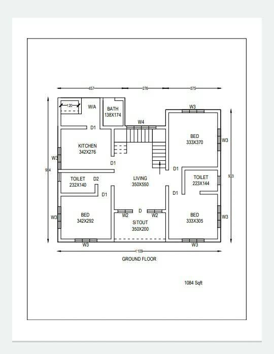 1084 Sq Ft 3BHK Simple and Beautiful Single Floor House and Free Plan, 14 Lacks