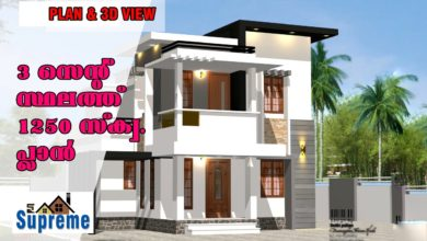 Photo of 1250 Sq Ft 3BHK Contemporary Style 3BHK House and Free Plan