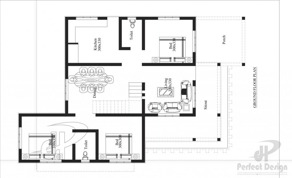 1257 Sq Ft 3BHK Modern Single Floor House and Free Plan