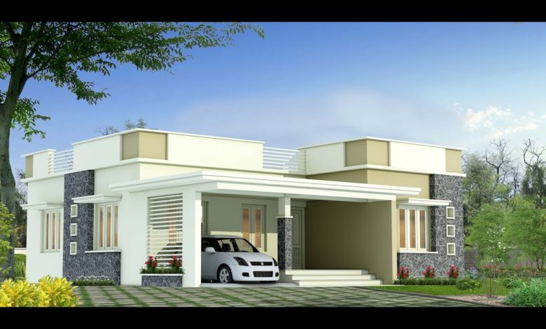 1285 Sq Ft 3BHK Modern Flat Roof Single-Storey House and Free Plan