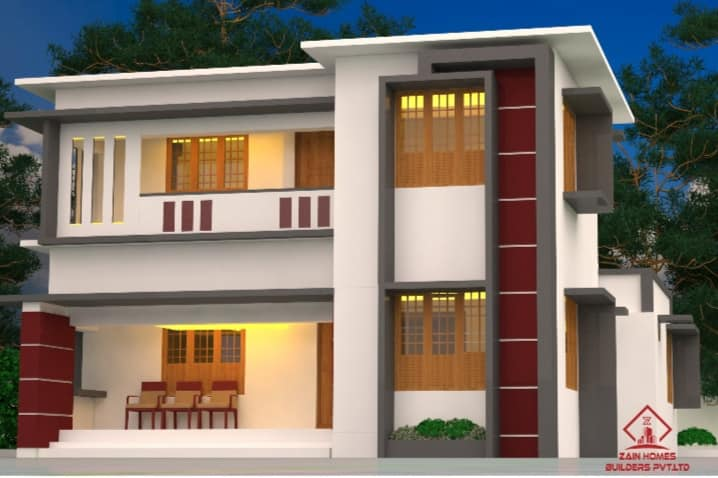 1453 Sq Ft 4BHK Flat Roof Two-Storey House and Free Plan