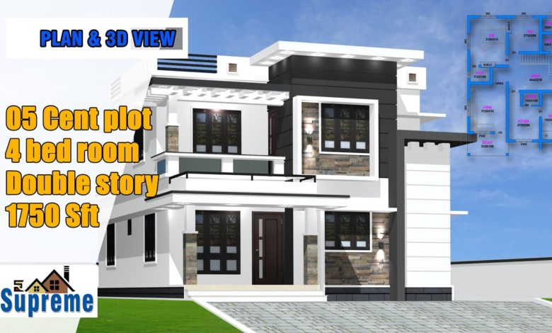 1750 Sq Ft 4BHK Contemporary Style Two-Storey House and Free Plan