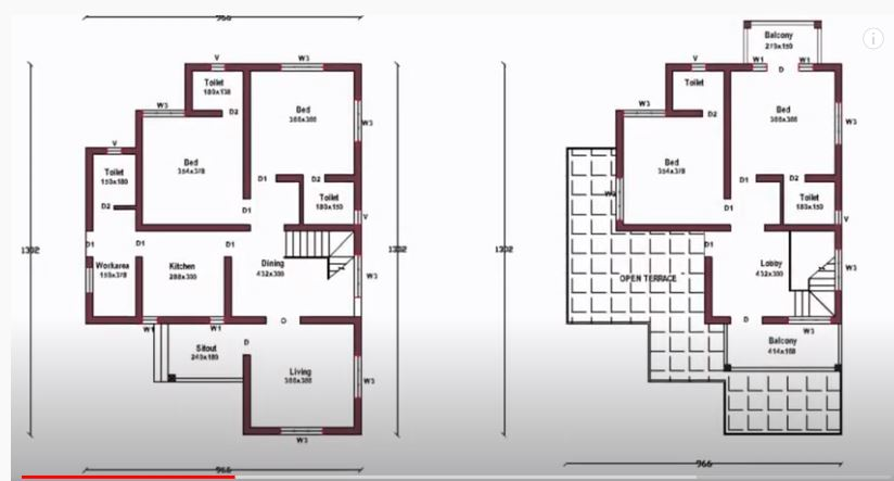 1850 Sq Ft 4BHK Contemporary Style Two-Storey House and Free Plan