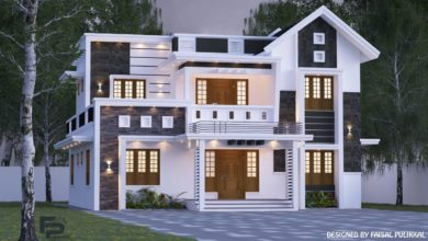 Photo of 2000 Sq Ft 5BHK Contemporary Style Two-Storey House and Free Plan