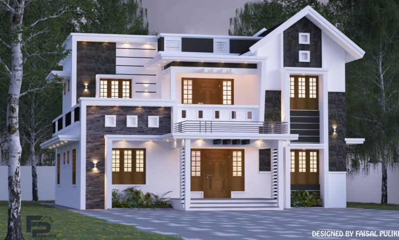 2000 Sq Ft 5BHK Contemporary Style Two-Storey House and Free Plan