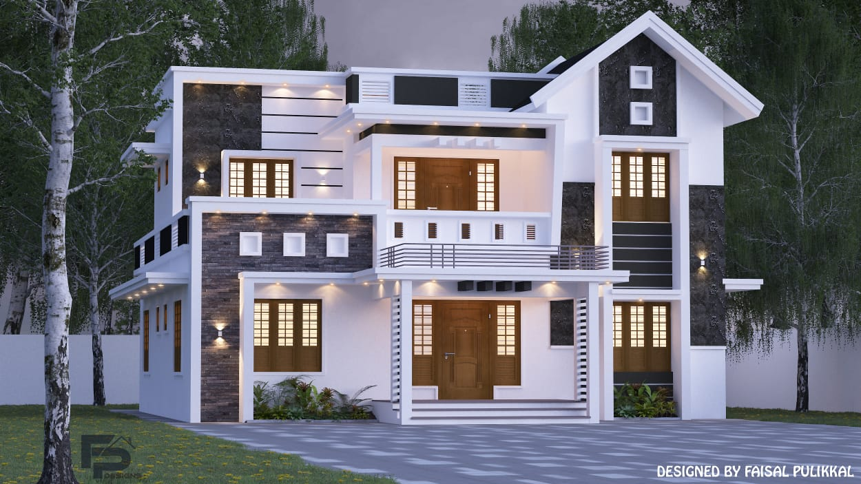 2000 Sq Ft 4BHK Contemporary Style Two-Storey House and Free Plan