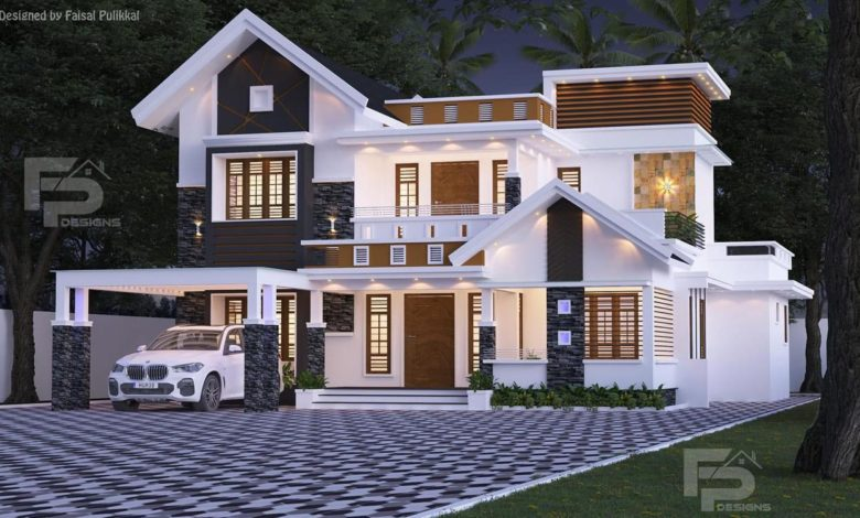 2400 Sq Ft 4BHK Contemporary Style Two-Storey House and Free Plan